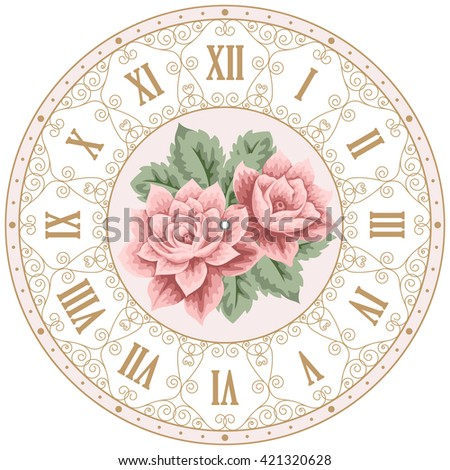 Vintage clock face with hand drawn colorful roses and curly design elements. Shabby chic illustration