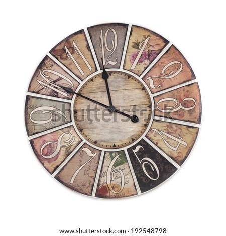 vintage clock isolated on white background - stock photo