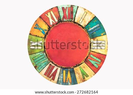 Vintage Clock Isolated on white background. - stock photo