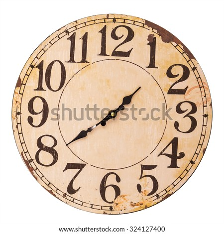 vintage clock isolated on white background - stock photo