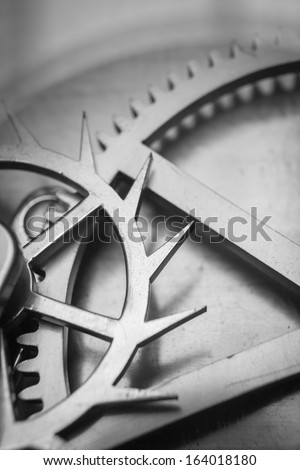 Vintage Clock Machine Gear Cog, Business Cooperation, teamwork and time concept  - stock photo
