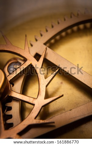 Vintage Clock Machine Gear Cog, cooperation, teamwork and time concept  - stock photo