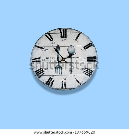 Vintage Clock, Old Clock On Light Blue Background - stock photo