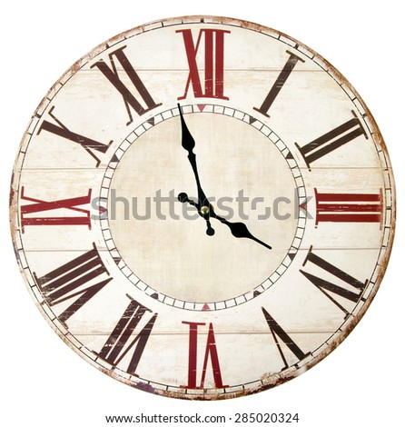 vintage clock on the white surface - stock photo