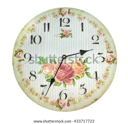 Vintage clock on white background, color style