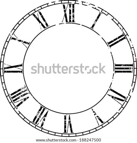 vintage clock on white . Illustration clip art - stock photo