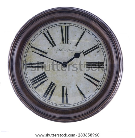 Vintage Clock with Roman Numerals - stock photo