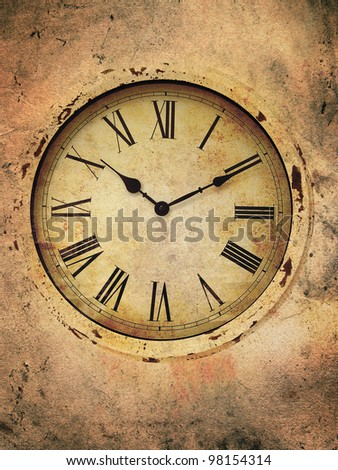 Vintage clock with roman numerals in a grungy style. - stock photo