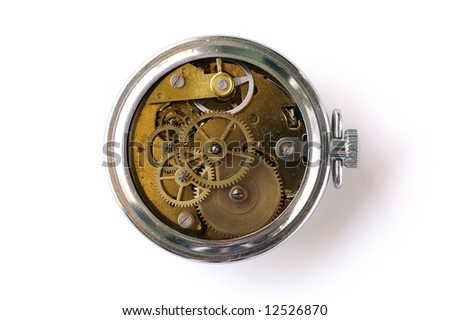 Vintage clock with uncovered clockwork - stock photo