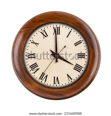 Vintage clockface showing four o'clock in wooden frame isolated over white - stock photo