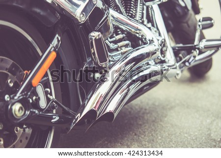 vintage close up of motorcycle exhaust, noise - stock photo