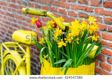 Vintage closeup vibrant yellow bicycle with basket of daffodil flowers on old rustic brick wall background