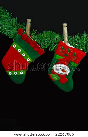 vintage clothespins holding stockings - stock photo