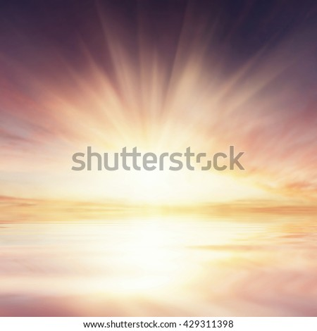 Vintage clouds reflection in ocean, seascape, nature sky background - stock photo