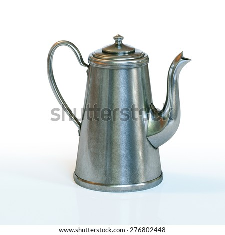 Vintage coffee kettle on white background.