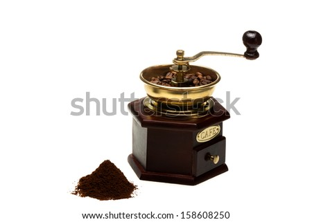Vintage coffee mill on white background