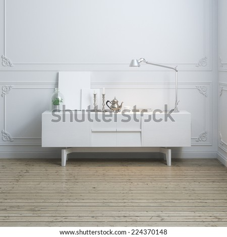 Vintage coffee pot and candelabras, empty frames and lamp on modern cabinet  - stock photo