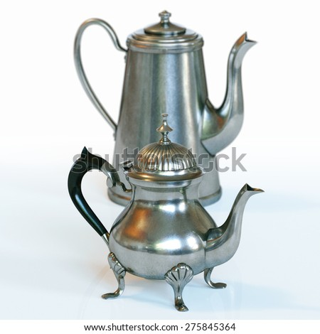 Vintage coffee pot and retro kettle on white background.
