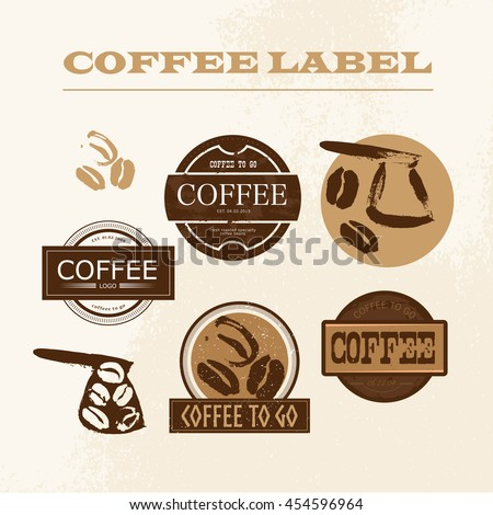 Vintage coffee shop emblem, logo design set isolated. Retro style coffee store label, insignia template. Coffee bean, coffee pot stamp hand drawn. Coffee seed icon.