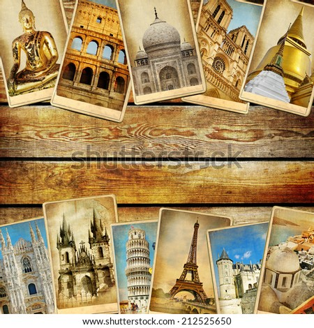 vintage collage - travel background with space for text - stock photo