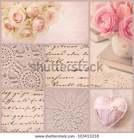 Vintage collage with roses and old letters - stock photo