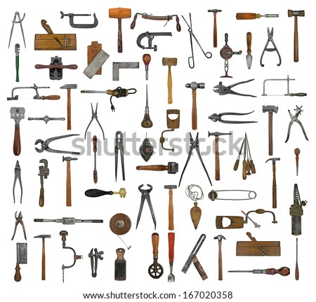 vintage collectible tools collage over white background - stock photo