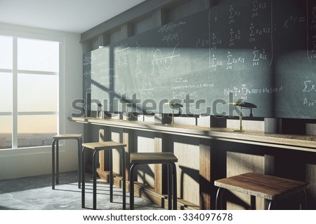 Vintage college classroom with equation solution on blackboard at sunrise 3D Render - stock photo