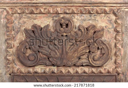 Vintage colonial wooden ornament - stock photo