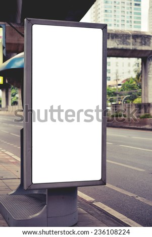 vintage color , blank advertising billboard at road - stock photo