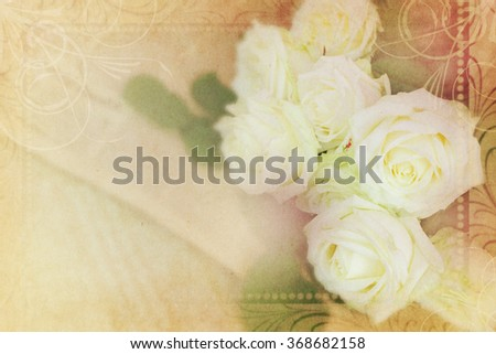 vintage color flowers on mulberry paper texture for background