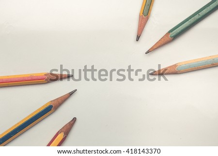 Vintage color ,Old pencil on white paper, background - stock photo