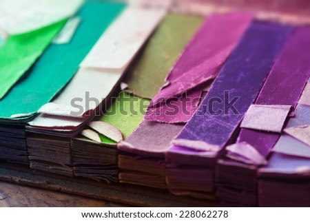 Vintage color samples. Retro colors of an vintage color samples, close up.  - stock photo