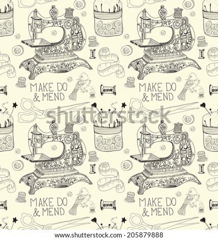 Vintage Color Seamless pattern - fashion and sewing, illustration - stock photo