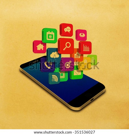 Vintage,Colorful application icon on smartphone,cell phone illustration