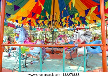 Vintage colorful  carousel - stock photo