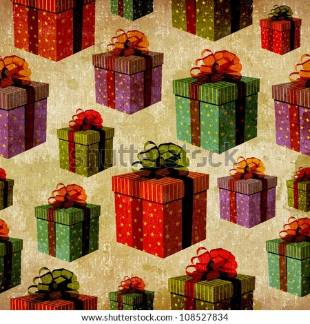 Vintage colorful gift boxes with important ribbons pattern background. - stock photo