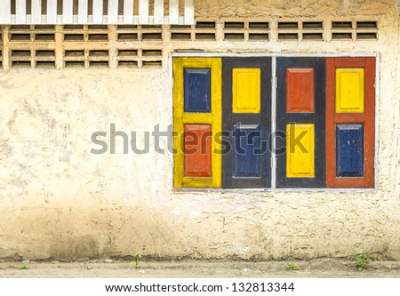 vintage colorful windows. - stock photo