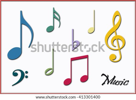 Vintage colors musical notes and symbols - stock photo