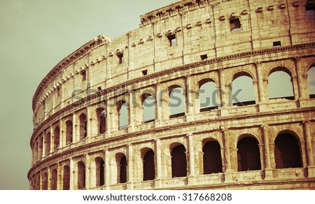 vintage Colosseum in Rome, Italy