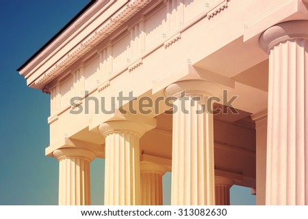 Vintage Columns Architecture Of Ancient Greek Temple - stock photo