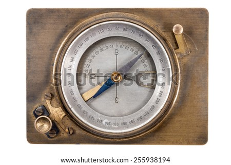 vintage compass geologist isolated on a white background - stock photo