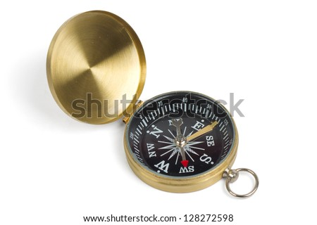 Vintage compass isolated on white - stock photo