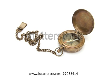 Vintage compass isolated on white background - stock photo