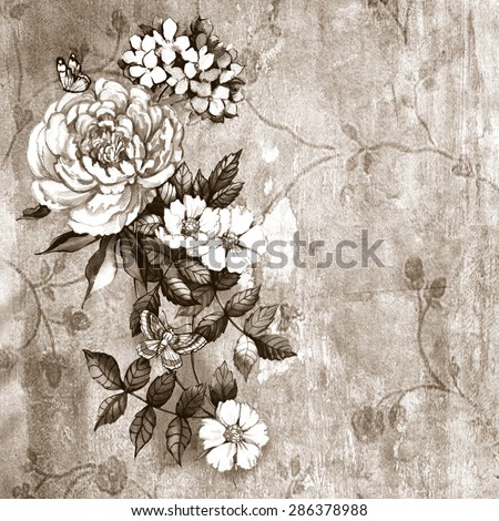 Vintage composition with flowers.  Watercolor. Hand painting. Illustration for greeting cards, invitations, and other printing projects. - stock photo
