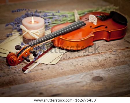 Vintage composition with violin and lavender