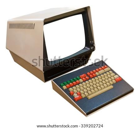 vintage computer isolated on white background - stock photo