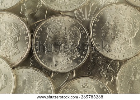 Vintage concept of old silver coins with filled frame.  - stock photo