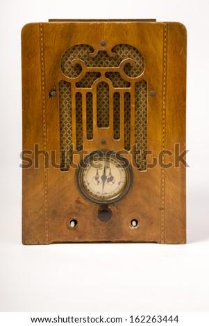 Vintage Console Radio Antique Wood Audio Receiver Device - stock photo