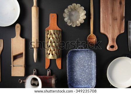 Vintage Cookware on the black background.Top view