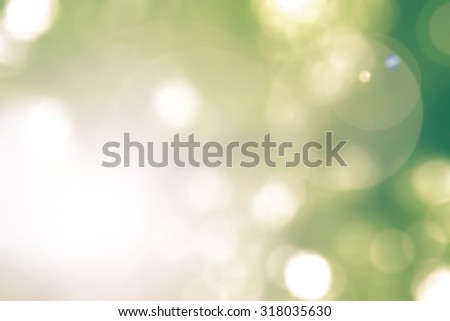 Vintage cool yellow green color tone blurred nature background of a view looking up through the greenery foliage of a tree against the sky facing sun flare and bokeh: Blurred natural greenery bokeh  - stock photo
